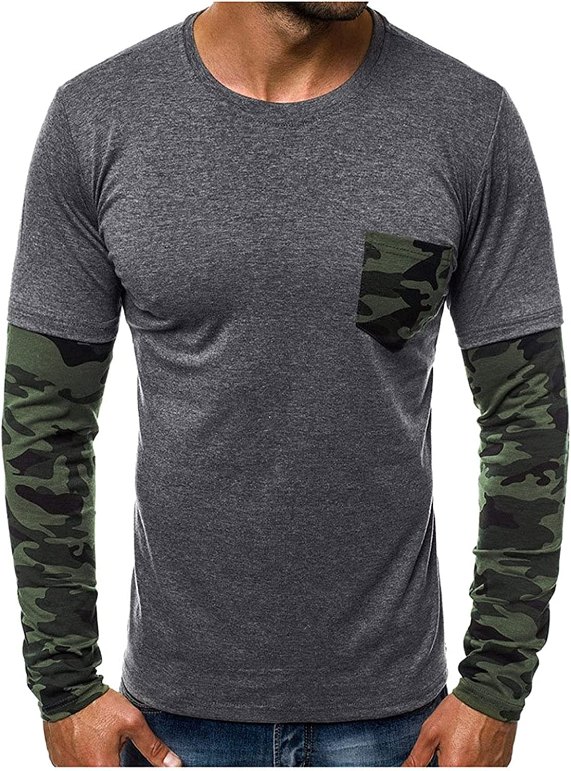 Long Sleeve Tee Shirts for Men,Work Shirts with Pocket Camouflage Printed Classic Summer Slim Casual Top Blouse