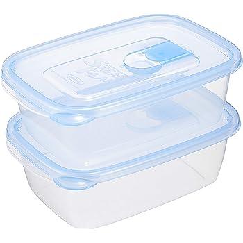 岩崎工業 日本製 抗菌 食品保存容器 スマートフラップ角型 ライトブルー L 940ml 2個組 A-042 LB
