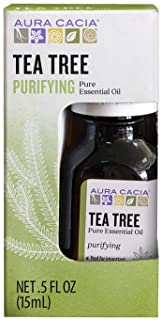 Aura Cacia 100% Pure Tea Tree Essential Oil | GC/MS Tested for Purity | 15 ml (0.5 fl. oz.) in Box | Melaleuca alternifolia