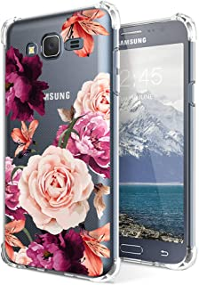 Case for Samsung Galaxy J7 2015, Galaxy J7 J700 for Girls N Women Clear with Red Cute Floral Design Shockproof Bumper Protective Cell Phone Cases Flexible Slim Fit Soft Gel Flower Pattern Rubber Cover