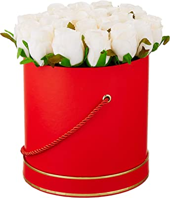 Fourwalls Artificial Rose Flowers in a Box for Valentines Day Gift (21 Flower in Box, 22 cm Tall, Red and White)