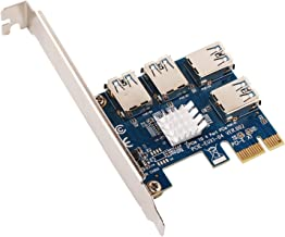 Ubit 1 to 4 PCI-E Riser Extender for BitcoinLitecoin ETH Coin 4 in 1 PCI-E Riser Adapter Board USB3.0 PCI-E Rabbet- Ethereum Mining ETH (4 in 1