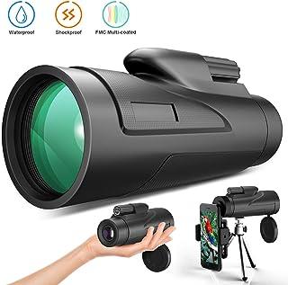 Gafild Monocular 12 x 50 HD Monocular Impermeable monoculo telescopio portatil para Viajes de Caza Juego de Pelota Concierto con Adaptador de Soporte para Smartphone y trípode