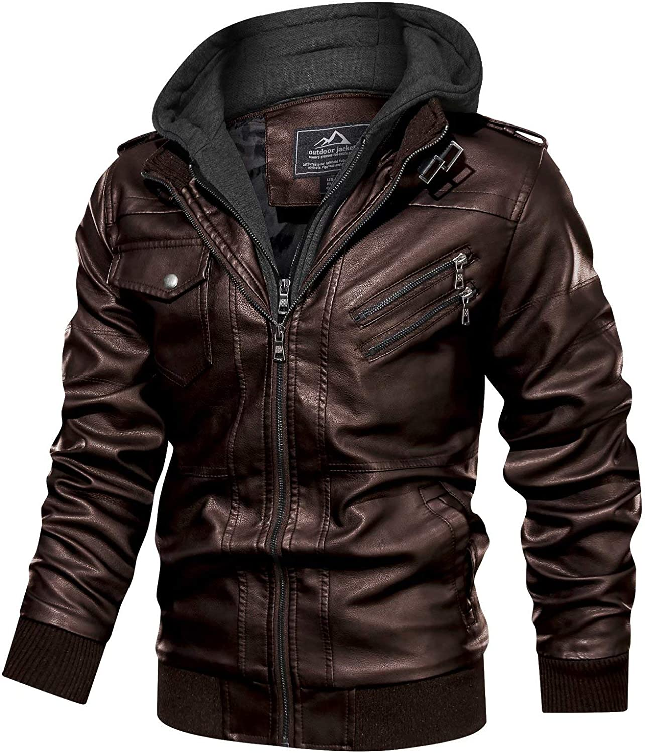MAGCOMSEN Men's Stand Collar PU Faux Leather Jacket 6 Pockets Motorcycle Bomber Fall Winter Jacket with a Removable Hood