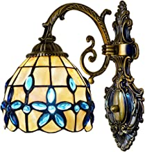 Mediterranean Wall Sconce Lights Tiffany Style Blue Lilac Wall Lamps Natural Shell Vanity Lamp for Bathroom Living Room Be...