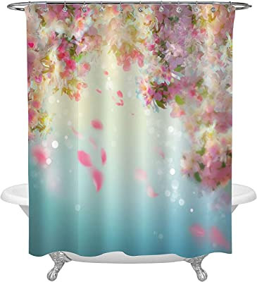 Waterproof Cloth Hawaii Tropical Paradise with Sunlight Landscape House Decor Big Green Turtles Diving Underwater Shower Curtain with Ocean Surfing Wave Breaking Background 72 x 72 Standard