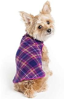 Gold Paw Stretch Fleece Dog Coat – Soft, Warm Dog Clothes, Stretchy Pet Sweater – Machine Washable, Eco Friendly – All Season – Sizes 2-33, Mulberry Plaid, Size 10