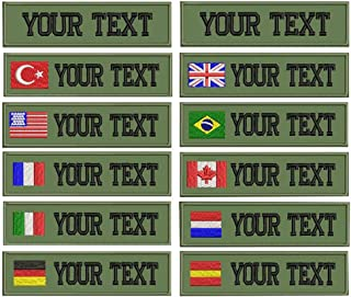 Custom Military Name Embroidered Patch,US Brazil France UK Flag Personalized … (Green)