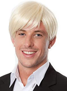 Mens Short Blonde Wig Fits Adults & Kids. Blonde Costume Wigs for Cosplay Anime Halloween