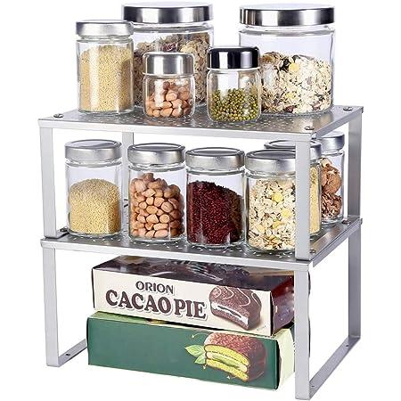 Organiseurs de placards,Lot de 2 étagères de rangement en métal pour placard de cuisine,étagère de rangement extensible,comptoirs, garde-manger, aliments et ustensiles