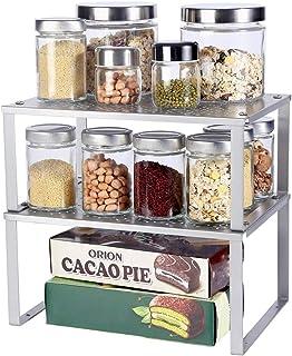Organiseurs de placards,Lot de 2 étagères de rangement en métal pour placard de cuisine,étagère de rangement extensible,co...