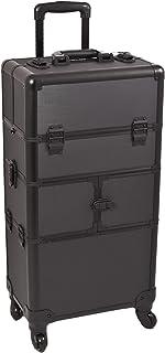 Sunrise Bartolini 2-In-1 Rolling Makeup Case Professional Nail Travel Organizer Box, Black Dot, 21 Pound