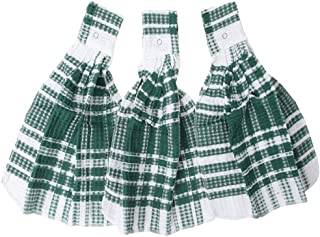 Home-X - Green Snap Top Towels (Set of 3), Kitchen Towels and Dishcloths That Easily Snap onto Drawers and Handles, Perfect for Any Kitchen