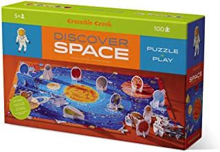 Crocodile Creek 2920-7 Discover Space 100 Piece Educational Puzzle with Fact Book, Blue