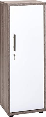 Armoire à Documents pour Meubles - Style rétro - Couleur : Blanc Brillant - Environ 39,3 x 34,5 x 110,9 cm.