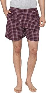Men Classic Check -Prints Woven Boxer Shorts - Brown