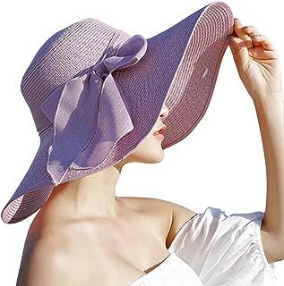 Womens Big Bowknot Straw Hat Floppy Foldable Roll up Beach Cap Sun Hat UPF 50+