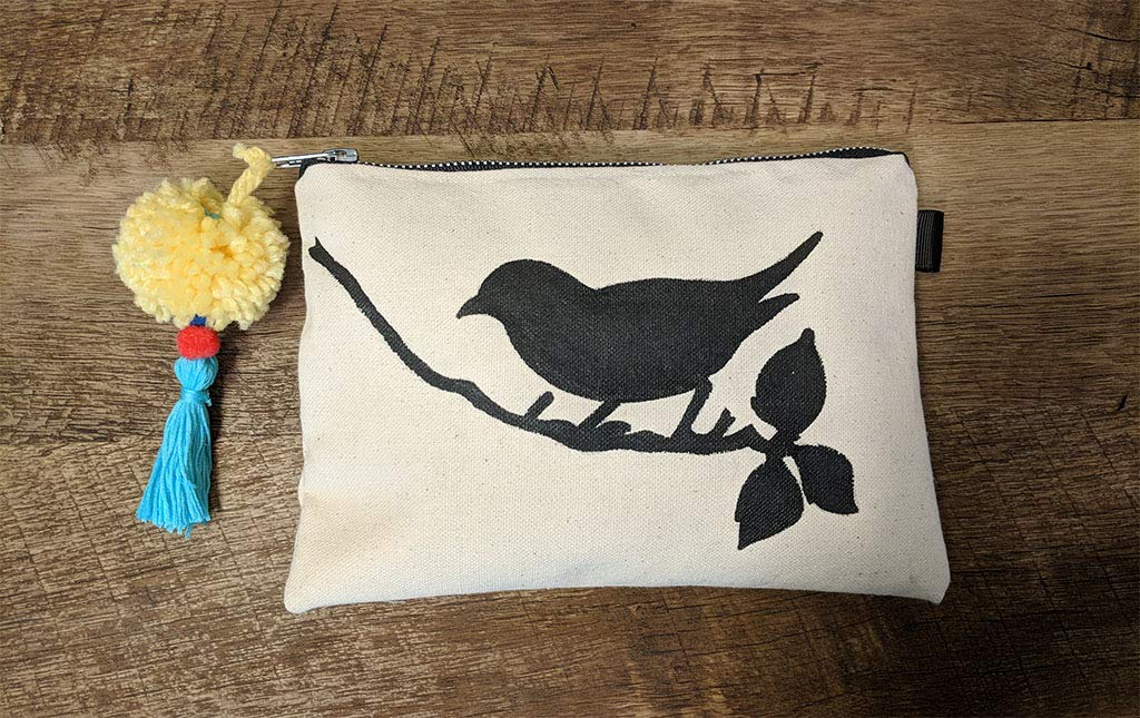Canvas Pompon Cosmetic Bag Painting - Same day shipping Ranking TOP5 Bird