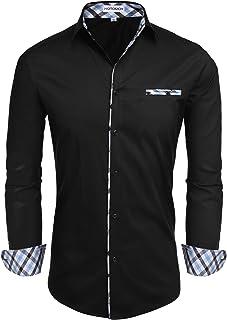 Men's Long/Short Sleeve Fashion Button Up Shirt Contrast Casual Button Down Shirts Slim Fit Dress Shirt