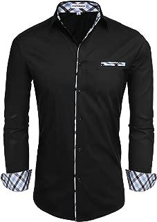 Hotouch Men's Fashion Button Up Shirt Slim Fit Dress Shirt Contrast Long Sleeve Casual Button Down Shirts