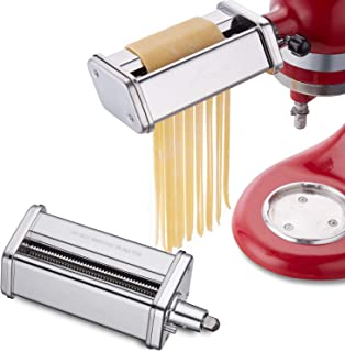 Gvode Pasta Cutter Set Attachment for KitchenAid Stand Mixers Includes Fettuccine Spaghetti Cutter Accessories as Noodle Maker