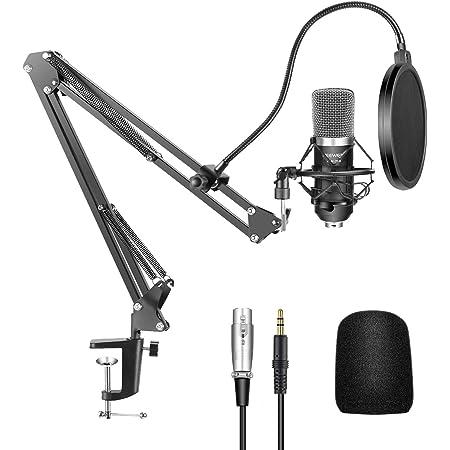 Neewer NW-700 Microphone à Condensateur Professionnel Enregistrement Studio & NW-35 Support de Microphone à Bras de Ciseaux Réglable avec Shock Mount et Kit de Pince de Fixation