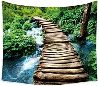 zhj888 Landscape Printing Wall Hanging Forest Tapestry Home Decoration Sheets Summer Beach Covered Swimsuit Blanket Yoga Picnic Mat Wooden Bridge Tapestry 230X150Cm
