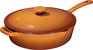 Enameled Cast Iron Skillet Deep Sauté Pan with Lid, 12 Inch, Pumpkin Spice, Superior Heat Retention