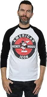 Disney Men's Mickey Mouse American Icon Long Sleeved Baseball Shirt