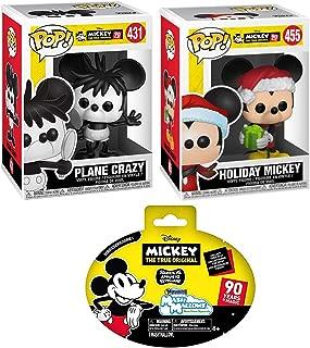 Plane Holiday Mickey Figure Pop! Mouse Original Crazy #431 Bundled with Santa Hat #455 True Original & Slow Rise Soft Character Mini Figure Blind Bag 3 Items