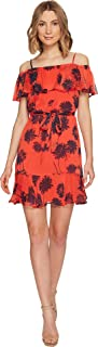 Donna Morgan Women's Belted Trapeze Dress W/Ruffle Cold Shoulder