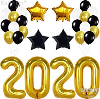 2020 Balloons Graduation New Year- Gold, 2020 Foil Mylar Number - Graduation Party Supplies 2020 - Graduation Decorations - Gold Black White Balloons for New Years Eve Party Supplies 2020, Large