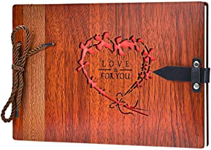ZEEYUAN Wooden Photo Album Scrapbook DIY Photo Book Wedding Guest-Book 80 Pages Memory Book Birthday Anniversary Valentine's Gift for Mother Girlfriend (Love for You)