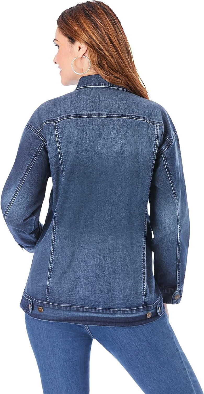 Roaman's Women's Plus Size Boyfriend Denim Jacket