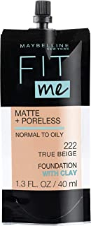 Maybelline New York Fit Me Matte + Poreless Liquid Foundation, Normal to Oily Skin Types, 222 TRUE BEIGE, 1.3 Fl.Oz