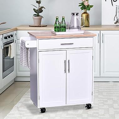 HOMCOM Wooden Kitchen Large Storage Island on 360° Swivel Wheels Cart with Drawer, Interior Cabinet & Towel Rack White