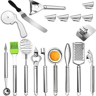 KEPEAK Nouveaux Gadgets de Cuisine Set, 18pcs Outils de Cuisine Inoxydable, Spatule à Gâteau/Râpe/Dissolvant d'Ecailles de...