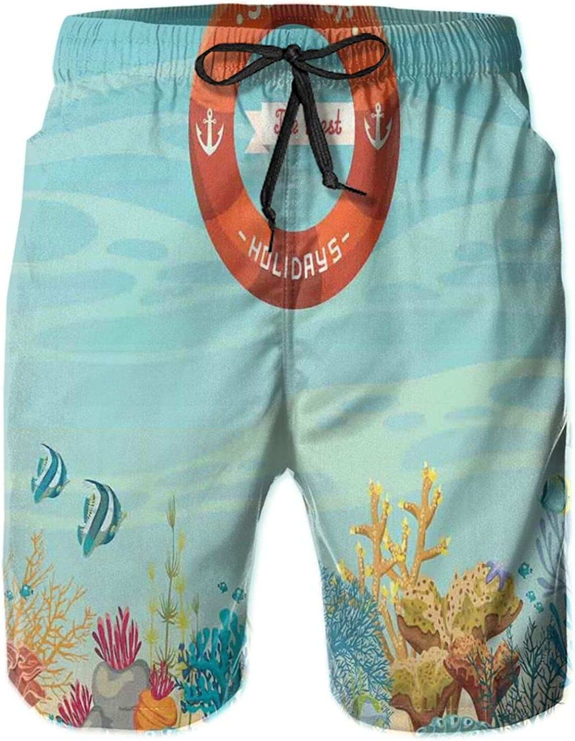 Lifebuoy Over Coral Reef Sea Tropical Ocean Bubbles Beach Mystic Subaquatic Swimming Trunks for Men Beach Shorts Casual Style,L