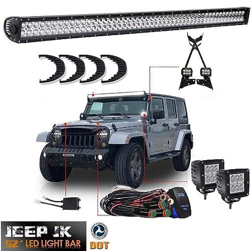 """Off Road JK 07-15 Wrangler 50/"""" LIGHT BAR+3/"""" LED Adjustable Flood+Mount Bracket"""