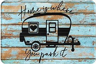 Camping Indoor Outdoor Doormat,Home is Where We Park It Front Door Mat,Farmhouse Rustic Decorative Camper Doormat,Entrance...