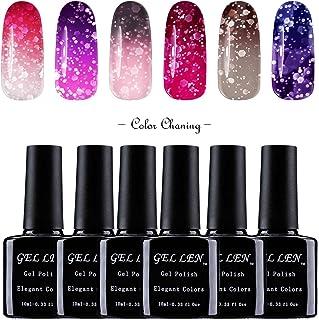 Gellen Sparkle Temperature Color Changing Chameleon UV Gel Nail Polish 6 Colors, Starter Manicure Kit