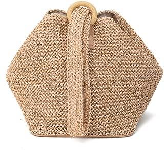 Bageek Womens Handbag Handmade Woven Casual Crossbody Bag Beach Shoulder Bag (Brown)