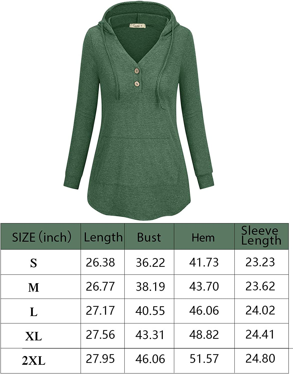 LASLULU Womens Casual Long Sleeve Pullover Buttons Hoodie Tunic Loose Sweatshirts Athletic with Pocket