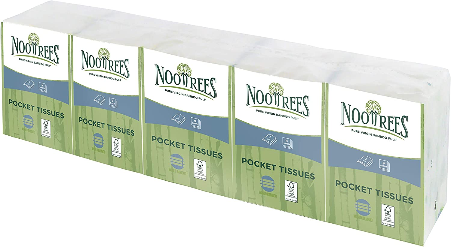 NooTrees Fixed price for sale Bamboo 2-Ply Pocket Tissue Soft Certifi Sheets FSC 9 Online limited product
