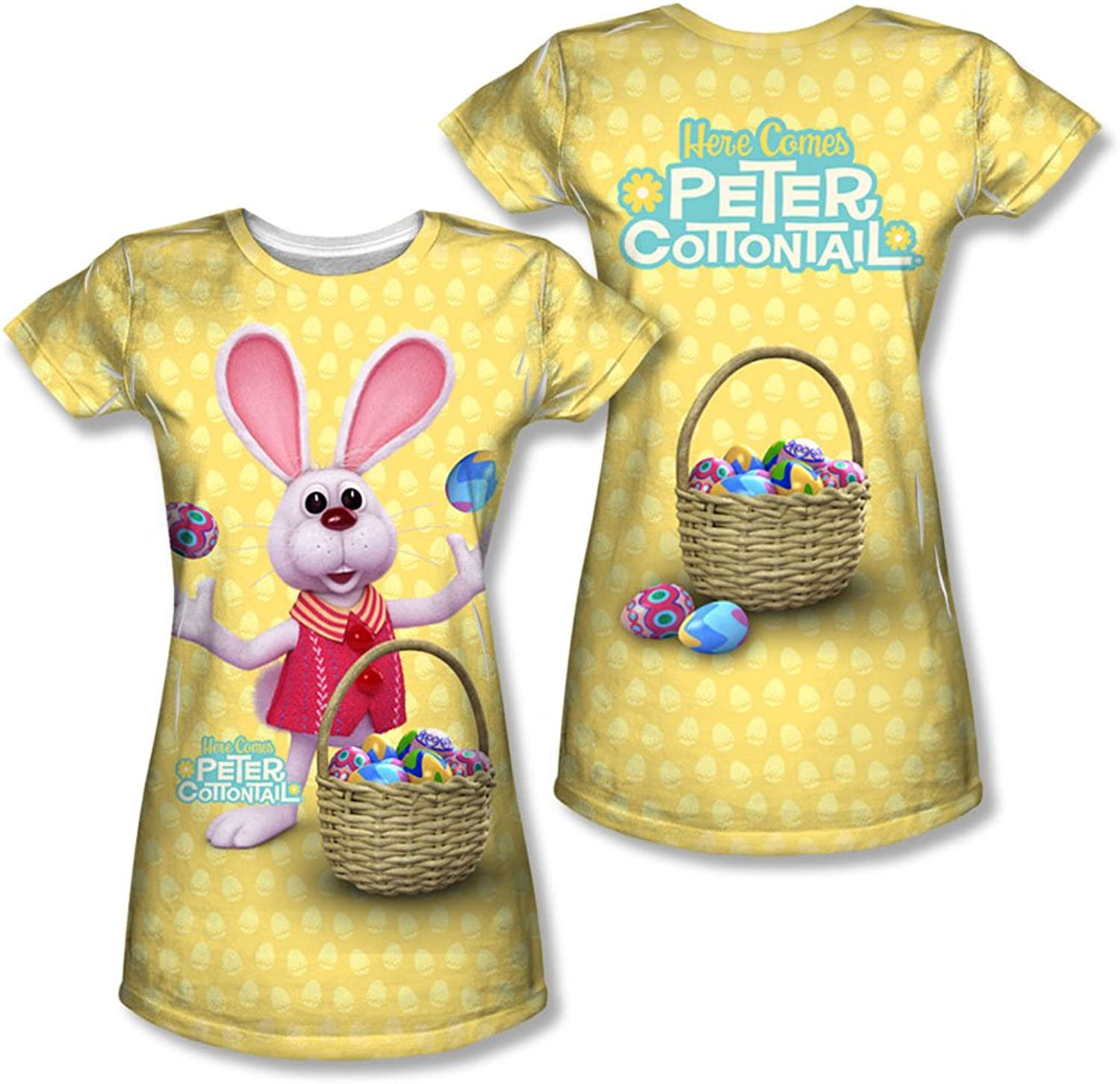 Here Comes Peter Cottontail  Juniors Basket Of Eggs (Front Back Print) TShirt