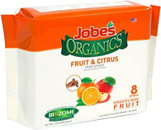 Jobe's Organics Fruit & Citrus Tree Fertilizer Spikes, 4-6-6 Time Release Fertilizer for All In-ground Citrus and Fruit Trees, 8 Spikes per Package