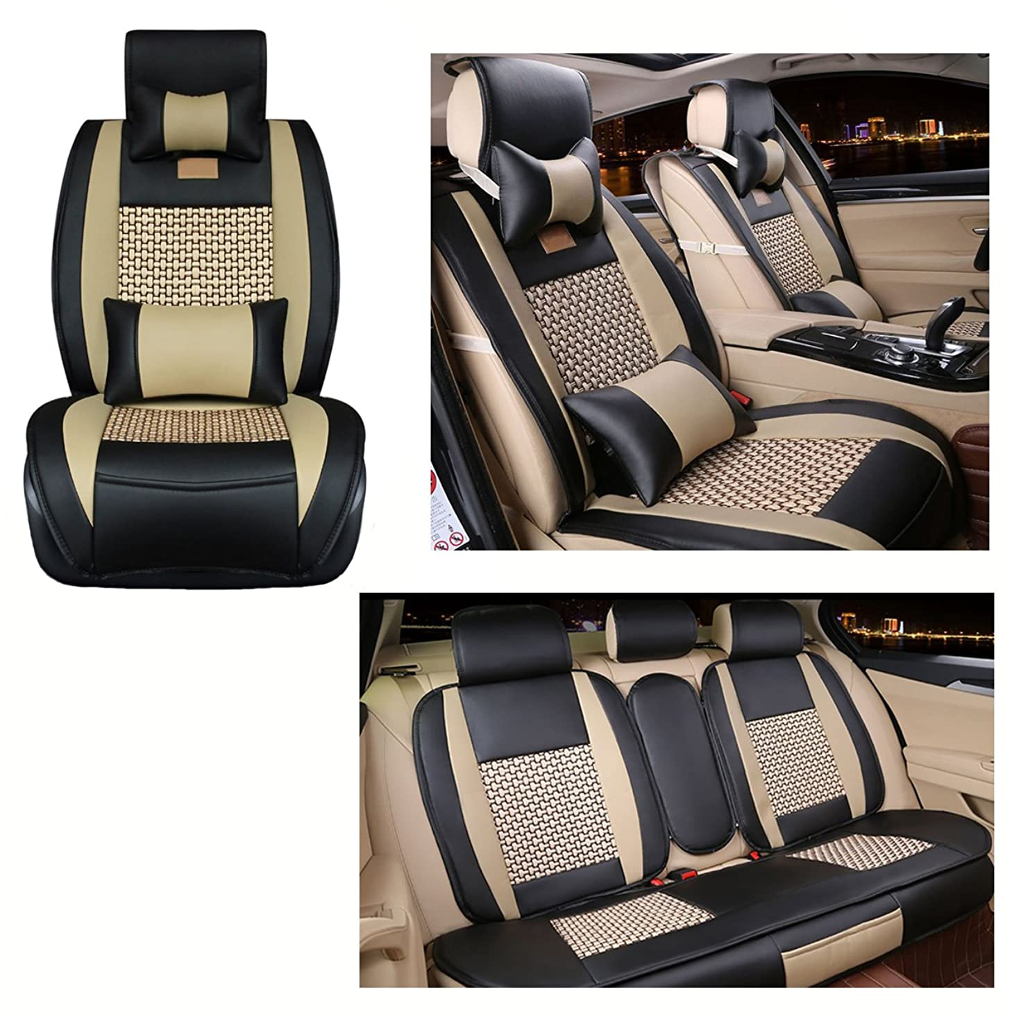 Leather Seat Covers Full Set - 10 Pieces for 5 Seats Car Automotive Universal Fit Seat Covers with Front/Rear/Head/Car Seat Cushion Cover,Car Seat Covers for Year Round