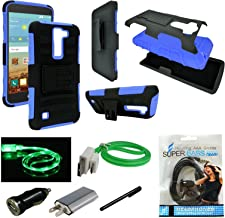 LG K7 Case, LG Tribute 5 Case, Mstechcorp, Heavy Duty Dual Layer Holster Case Kick Stand with Locking Belt Swivel Clip For LG K7 Phone - Includes Accessories (H Blue)