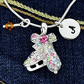 Figure Ice Skates Necklace Personalized Multi Color Pendant Hand Stamped Initial Letter Charm Sparkling Crystals Birthstone Charm Chain Custom Gift Jewelry
