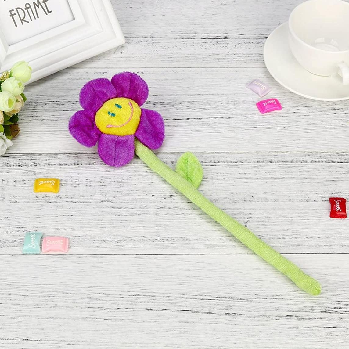 Sinwo Cute Plush Daisy Flower With Smiley Happy Faces Colorful Bendable Stems Sunflower Toy Plush Toys